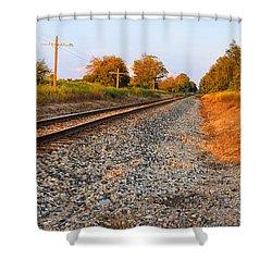 Evening Tracks Shower Curtain by Lars Lentz