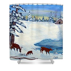 Evening Visitors Shower Curtain by Barbara Griffin
