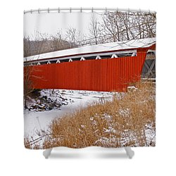 Everett Rd. Covered Bridge In Winter Shower Curtain