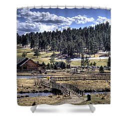 Evergreen Colorado Lakehouse Shower Curtain by Ron White