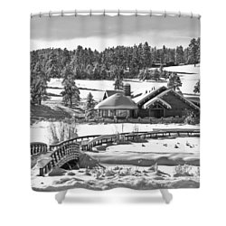 Evergreen Lake House Winter Shower Curtain by Ron White
