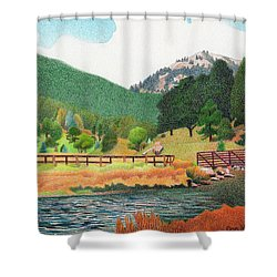 Evergreen Lake Spring Shower Curtain