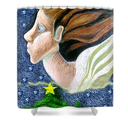 Everseeing Christmas Angel Shower Curtain by Genevieve Esson
