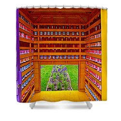 Every Garden Needs A Shed And Lawn Three In Reford Gardens Near Grand-metis-qc Shower Curtain by Ruth Hager