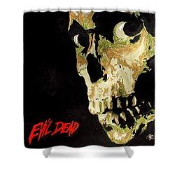 Evil Dead Skull Shower Curtain by Marisela Mungia