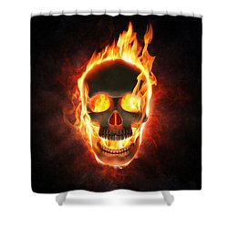 Evil Skull In Flames And Smoke Shower Curtain