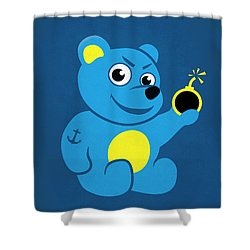 Evil Tattooed Teddy Bear Shower Curtain