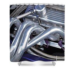Exhaust Manifold Hot Rod Engine Bay Shower Curtain by Allen Beatty
