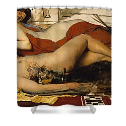 Exhausted Maenides Shower Curtain by Sir Lawrence Alma Tadema