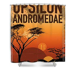 Exoplanet 06 Travel Poster Upsilon Andromedae 4 Shower Curtain by Chungkong Art