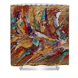 Exotic Flower Abstract Painting Shower Curtain