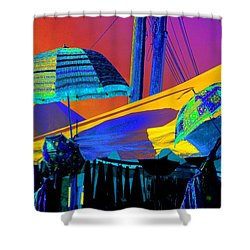 Shower Curtain featuring the photograph Exotic Parasols by Marianne Dow