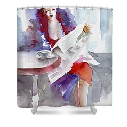 Shower Curtain featuring the painting Expectation.. by Faruk Koksal