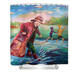 Exploring Puddles Shower Curtain by Naomi Gerrard