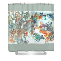 Shower Curtain featuring the mixed media Express Graphic by Esther Newman-Cohen