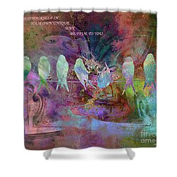 Express Yourself Birds On Wire Shower Curtain by Annie Zeno