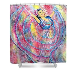 Shower Curtain featuring the painting Expressing Her Passion by Susan DeLain