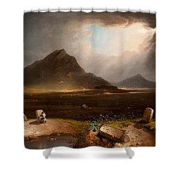 Extensive Landscape With Stonemason Shower Curtain by Daniel M. Mackenzie