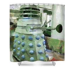 Exterminate Shower Curtain by Steve Taylor