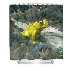 Shower Curtain featuring the photograph Extrude Yellow Frog by Donna Brown