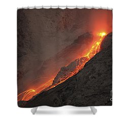 Extrusion Of Lava On Glowing Rockfalls Shower Curtain by Richard Roscoe