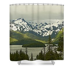 Eyak Lake Landscape Shower Curtain