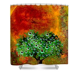 Eye Like Apples Shower Curtain by Ally  White