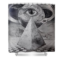 Shower Curtain featuring the drawing Eye Of The Dark Star - Journey Through The Wormhole by Otto Rapp