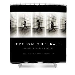 Eye On The Ball - Black Background Shower Curtain