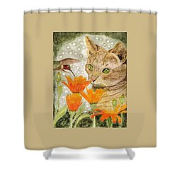 Shower Curtain featuring the painting Eye To Eye by Angela Davies