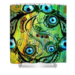 Eye Understand Shower Curtain by Ally  White