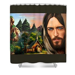 Shower Curtain featuring the painting Eyes Of Love And Compassion 2 by Karen Showell