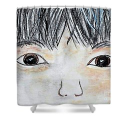 Shower Curtain featuring the painting Eyes Of Love by Eloise Schneider