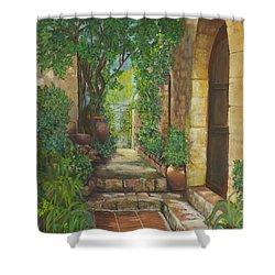 Eze Village Shower Curtain by Alika Kumar