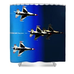 F16 Flight Into Space Shower Curtain by DigiArt Diaries by Vicky B Fuller