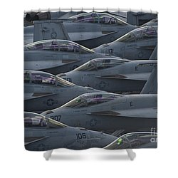 Fa18 Super Hornets Sit On The Flight Deck Of The Aircraft Carrier Uss Enterprise  Shower Curtain by Paul Fearn