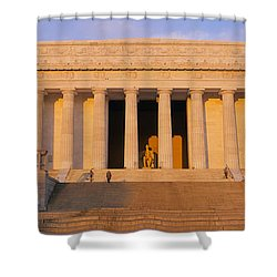 Facade Of A Memorial Building, Lincoln Shower Curtain by Panoramic Images