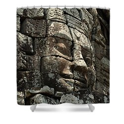 Face At Banyon Ankor Wat Cambodia Shower Curtain by Bob Christopher