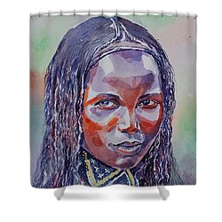 Face From Sudan  1 Shower Curtain by Mohamed Fadul