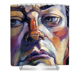 Face Of A Man Shower Curtain by Stan Esson