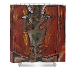 Shower Curtain featuring the painting Face To Face by Lucy Matta