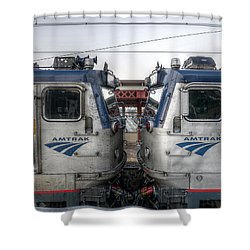 Face To Face On Amtrak Shower Curtain