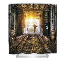 Factory Chase Shower Curtain by Carlos Caetano