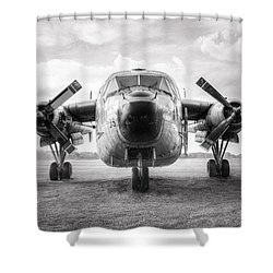 Shower Curtain featuring the photograph Fairchild C-119 Flying Boxcar - Military Transport by Gary Heller