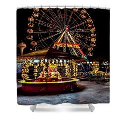 Fairground At Night Shower Curtain by Adrian Evans