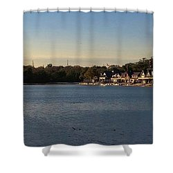 Fairmount Dam And Boathouse Row Shower Curtain by Photographic Arts And Design Studio