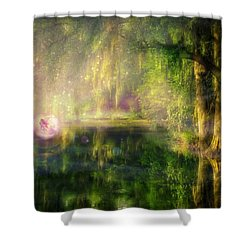 Fairy In Pink Bubble In Serenity Forest Shower Curtain by Lilia D