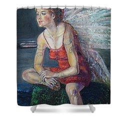 Fairy On A Stone Shower Curtain