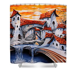Fairy Tale City - Magic Stream Shower Curtain
