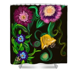 Fairy Tale Flowers Shower Curtain by Christine Fournier